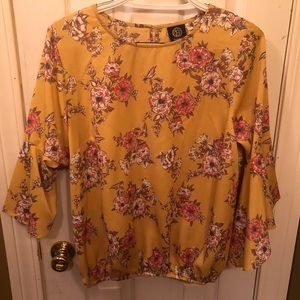 Yellow floral flounce sleeve top